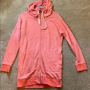 Volcom long zip up, coral, small